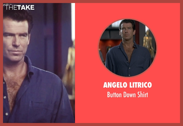 Angelo Litrico blue shirt from Tomorrow Never Dies seen with Pierce Brosnan (James Bond)