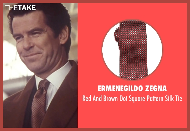 Ermenegildo Zegna brown tie from Tomorrow Never Dies seen with Pierce Brosnan (James Bond)