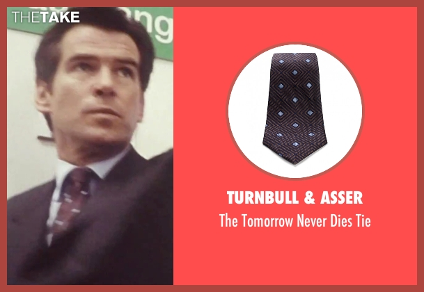 Turnbull & Asser brown tie from Tomorrow Never Dies seen with Pierce Brosnan (James Bond)