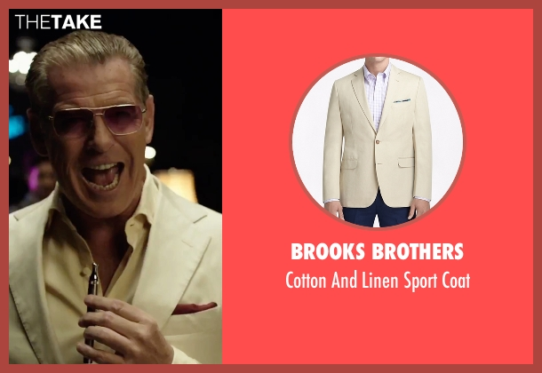 Brooks Brothers beige coat from Urge seen with Pierce Brosnan (The Man)