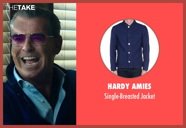 Hardy Amies blue jacket from Urge seen with Pierce Brosnan (The Man)