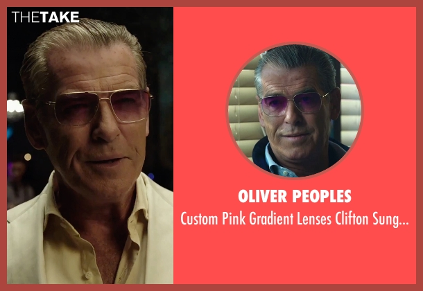 Oliver Peoples silver sunglasses from Urge seen with Pierce Brosnan (The Man)