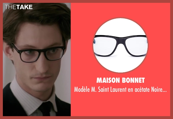 Maison Bonnet black eyeglasses from Yves Saint Laurent seen with Pierre Niney (Yves Saint Laurent)