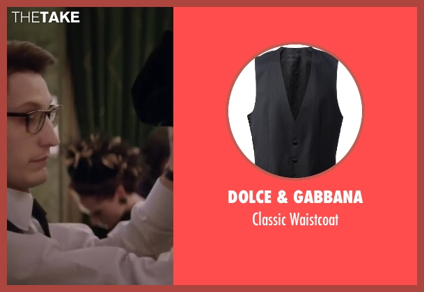 Dolce & Gabbana black waistcoat from Yves Saint Laurent seen with Pierre Niney (Yves Saint Laurent)