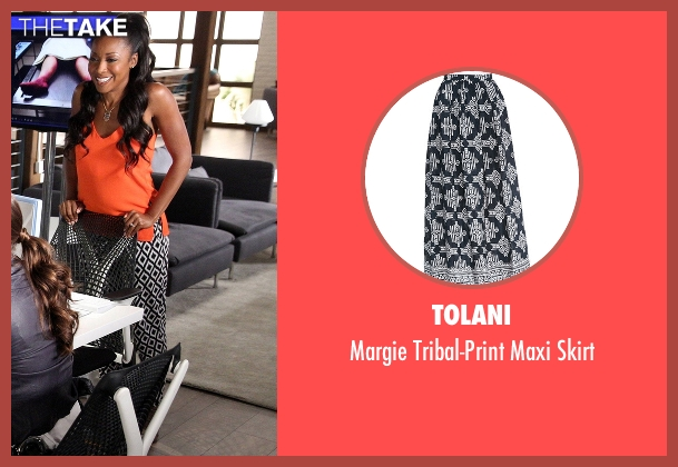 Tolani black skirt from Rosewood seen with Pippy Rosewood (Gabrielle Dennis)