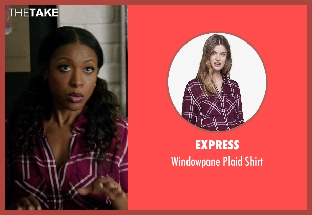 Express purple shirt from Rosewood seen with Pippy Rosewood (Gabrielle Dennis)