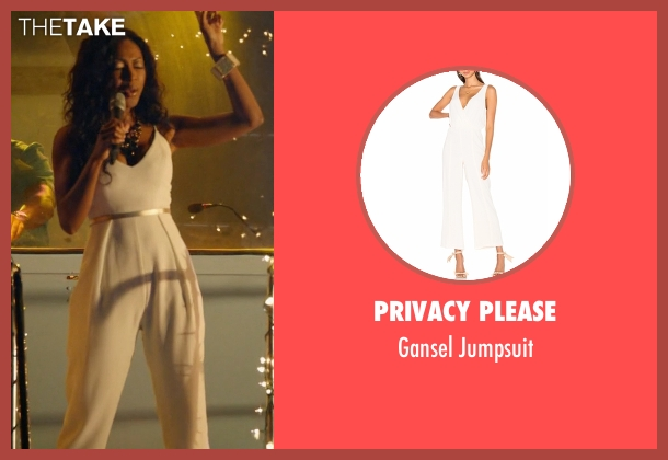 Privacy Please white jumpsuit from Rosewood seen with Pippy Rosewood (Gabrielle Dennis)