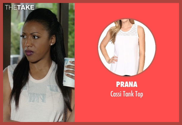 Prana white top from Rosewood seen with Pippy Rosewood (Gabrielle Dennis)