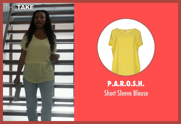 P.A.R.O.S.H. yellow blouse from Rosewood seen with Pippy Rosewood (Gabrielle Dennis)