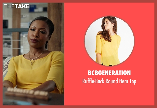 BCBGeneration yellow top from Rosewood seen with Pippy Rosewood (Gabrielle Dennis)