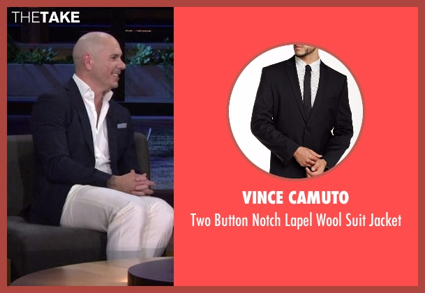 Vince Camuto black jacket from Chelsea seen with Pitbull