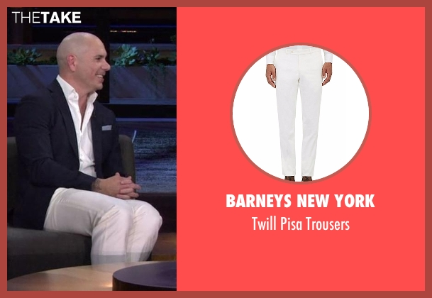 Barneys New York white trousers from Chelsea seen with Pitbull