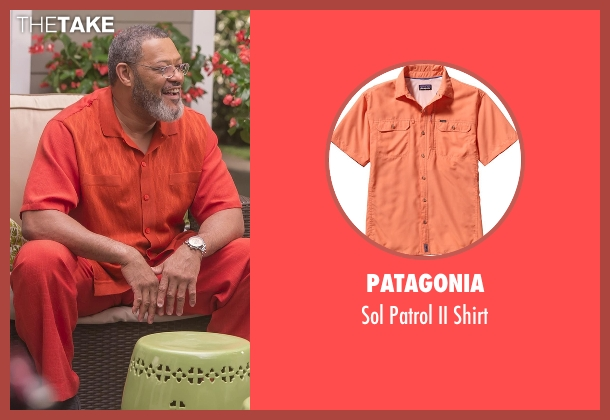 Patagonia orange shirt from Black-ish seen with Pops (Laurence Fishburne)