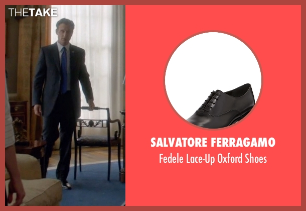 Salvatore Ferragamo black shoes from Scandal seen with President Fitzgerald Grant (Tony Goldwyn)