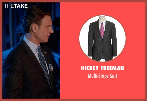 Hickey Freeman black suit from Scandal seen with President Fitzgerald Grant (Tony Goldwyn)