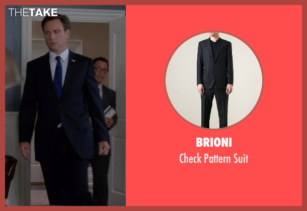Brioni black suit from Scandal seen with President Fitzgerald Grant (Tony Goldwyn)