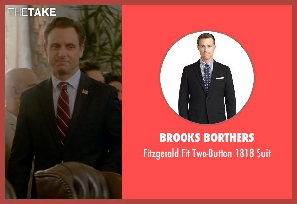 Brooks Borthers black suit from Scandal seen with President Fitzgerald Grant (Tony Goldwyn)