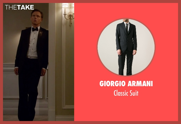 Giorgio Armani black suit from Scandal seen with President Fitzgerald Grant (Tony Goldwyn)