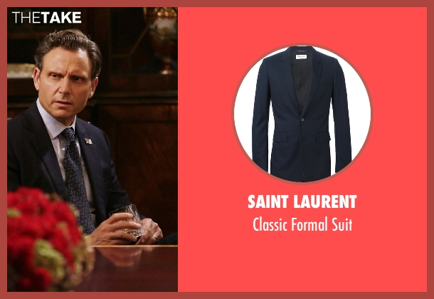 Saint Laurent blue suit from Scandal seen with President Fitzgerald Grant (Tony Goldwyn)