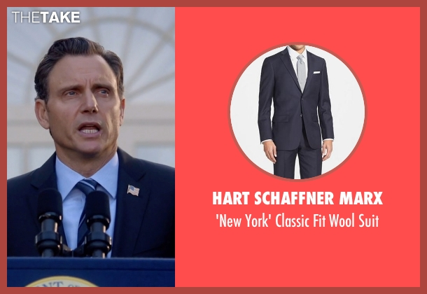 Hart Schaffner Marx blue suit from Scandal seen with President Fitzgerald Grant (Tony Goldwyn)