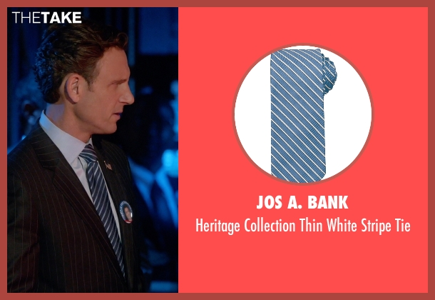 Jos A. Bank blue tie from Scandal seen with President Fitzgerald Grant (Tony Goldwyn)