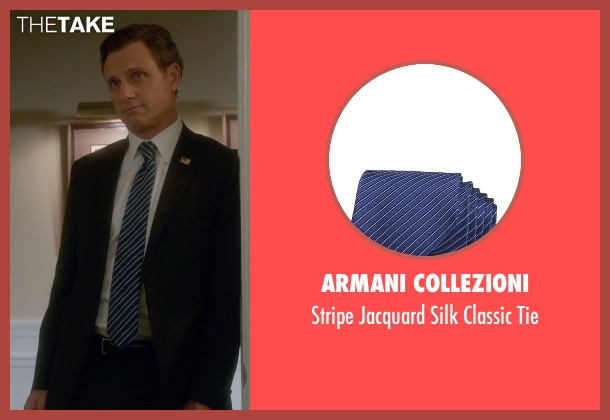 Armani Collezioni blue tie from Scandal seen with President Fitzgerald Grant (Tony Goldwyn)