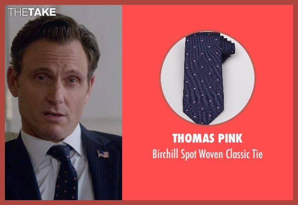 Thomas Pink blue tie from Scandal seen with President Fitzgerald Grant (Tony Goldwyn)