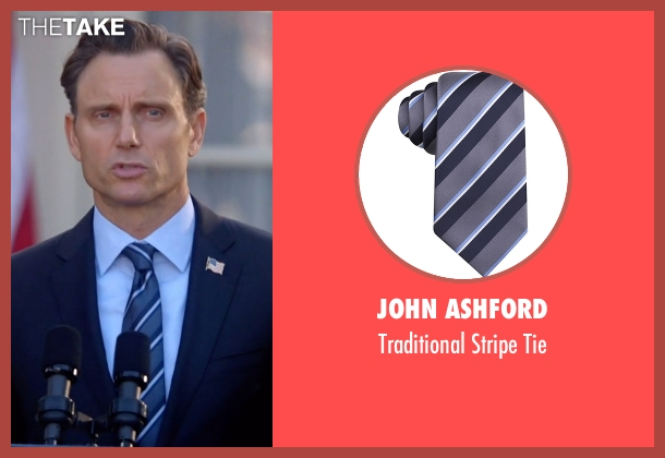 John Ashford gray tie from Scandal seen with President Fitzgerald Grant (Tony Goldwyn)