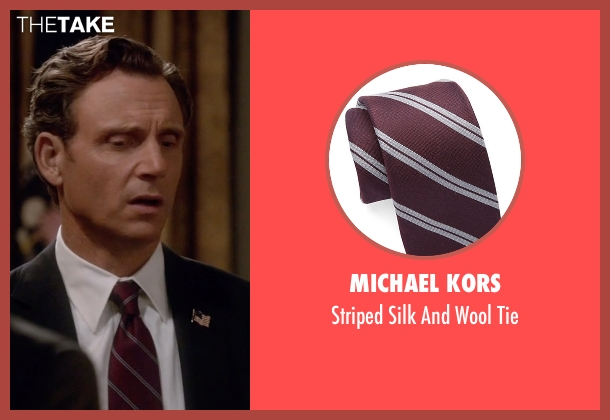 Michael Kors red tie from Scandal seen with President Fitzgerald Grant (Tony Goldwyn)