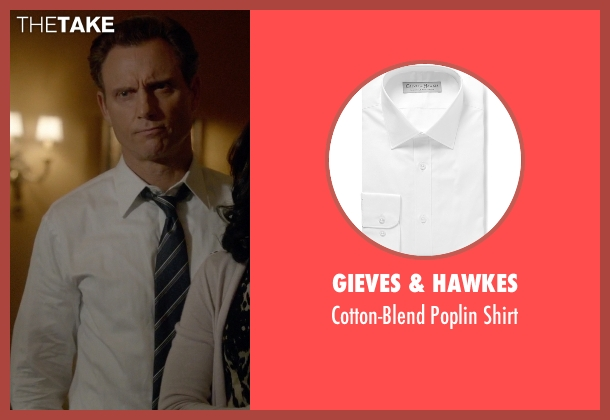Gieves & Hawkes white shirt from Scandal seen with President Fitzgerald Grant (Tony Goldwyn)