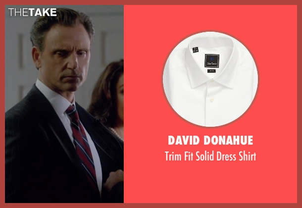 David Donahue white shirt from Scandal seen with President Fitzgerald Grant (Tony Goldwyn)