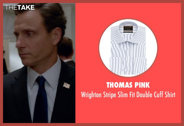 Thomas Pink white shirt from Scandal seen with President Fitzgerald Grant (Tony Goldwyn)
