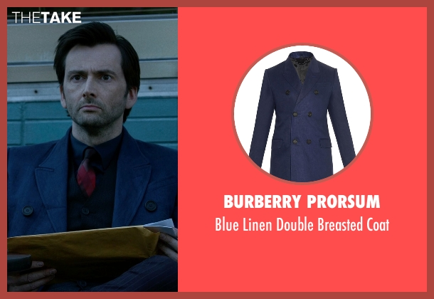 Burberry Prorsum blue coat from Jessica Jones seen with Purple Man / Kilgrave (David Tennant)