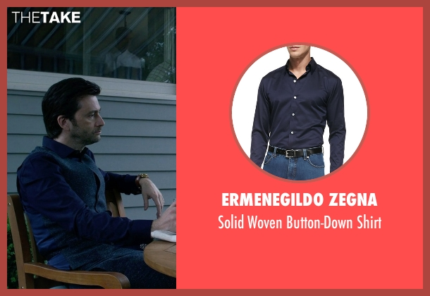 Ermenegildo Zegna blue shirt from Jessica Jones seen with Purple Man / Kilgrave (David Tennant)