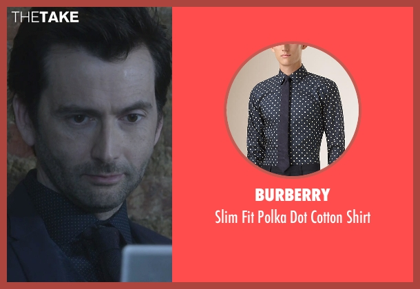 Burberry blue shirt from Jessica Jones seen with Purple Man / Kilgrave (David Tennant)