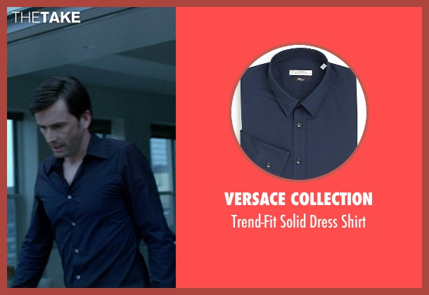 Versace Collection blue shirt from Jessica Jones seen with Purple Man / Kilgrave (David Tennant)