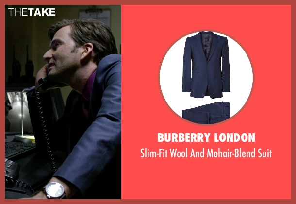 Burberry London blue suit from Jessica Jones seen with Purple Man / Kilgrave (David Tennant)