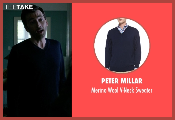 Peter Millar blue sweater from Jessica Jones seen with Purple Man / Kilgrave (David Tennant)