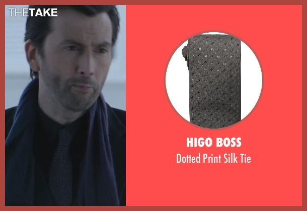 Higo Boss gray tie from Jessica Jones seen with Purple Man / Kilgrave (David Tennant)