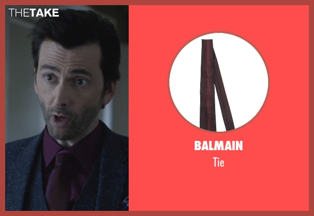 Balmain purple tie from Jessica Jones seen with Purple Man / Kilgrave (David Tennant)
