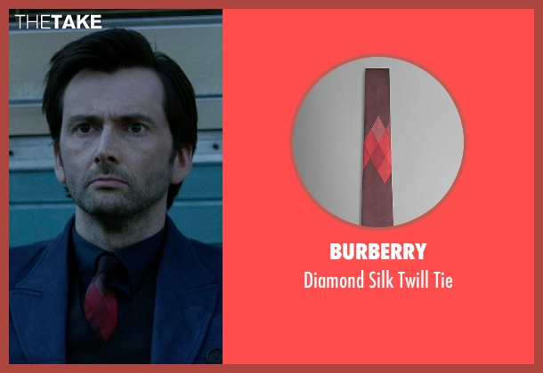 Burberry red tie from Jessica Jones seen with Purple Man / Kilgrave (David Tennant)