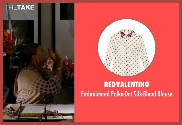 Redvalentino white blouse from Valentine's Day seen with Queen Latifah (Paula Thomas)