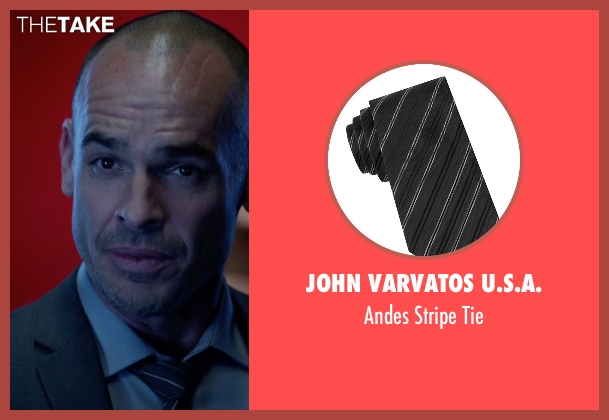 John Varvatos U.s.a. blue tie from Arrow seen with Quentin Lance (Paul Blackthorne)