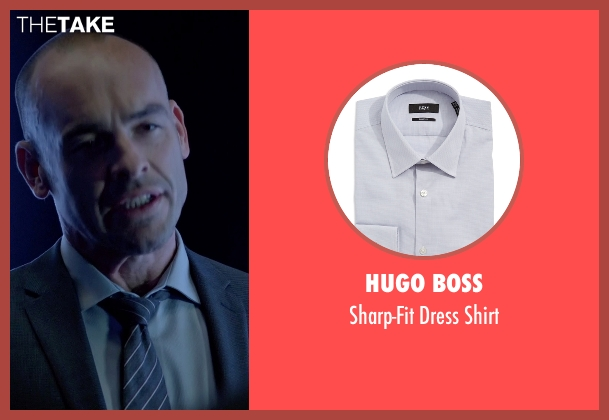 Hugo Boss gray shirt from Arrow seen with Quentin Lance (Paul Blackthorne)