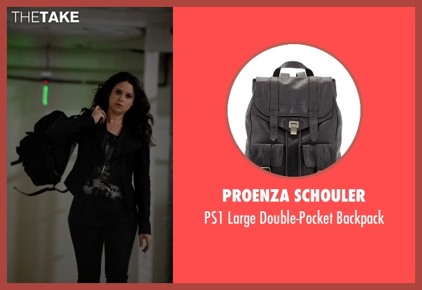 Proenza Schouler black backpack from Scandal seen with Quinn Perkins (Katie Lowes)