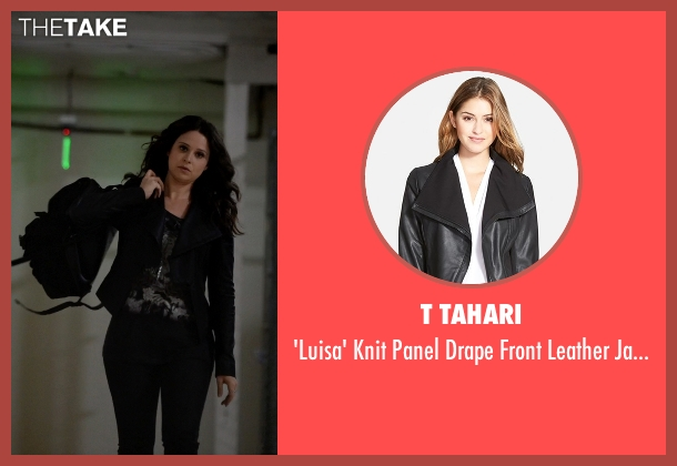 T Tahari black jacket from Scandal seen with Quinn Perkins (Katie Lowes)