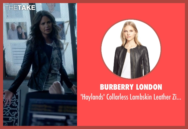Burberry London black jacket from Scandal seen with Quinn Perkins (Katie Lowes)