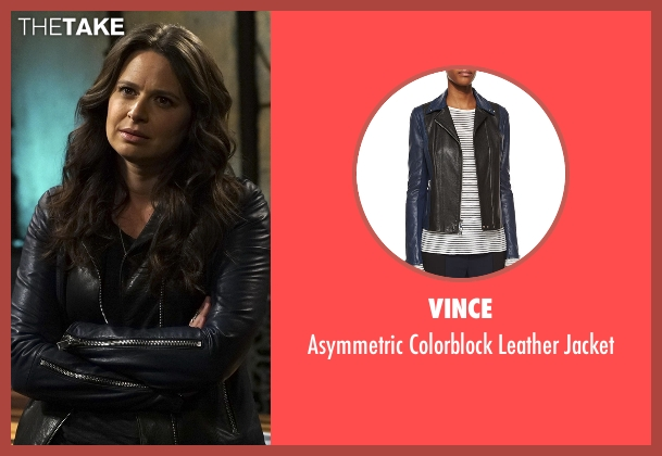 Vince black jacket from Scandal seen with Quinn Perkins (Katie Lowes)