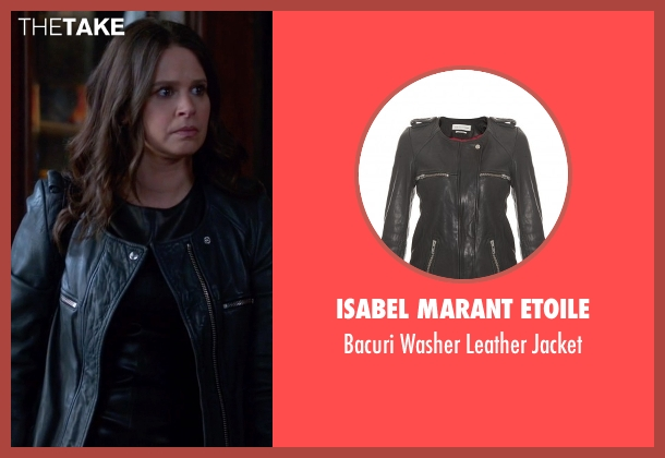 Isabel Marant Etoile black jacket from Scandal seen with Quinn Perkins (Katie Lowes)