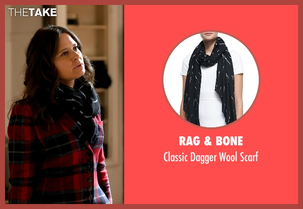 Rag & Bone blue scarf from Scandal seen with Quinn Perkins (Katie Lowes)